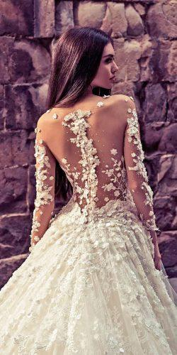ball gown backless floral with long sleeves tattoo effect wedding dresses julia kontogruni