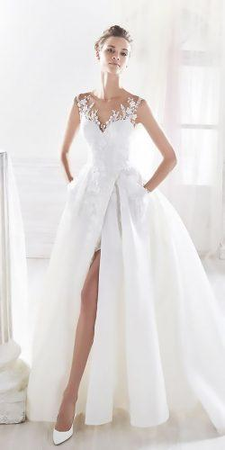 ball gown with illusion tattoo effect neckline wedding dresses nicole spose