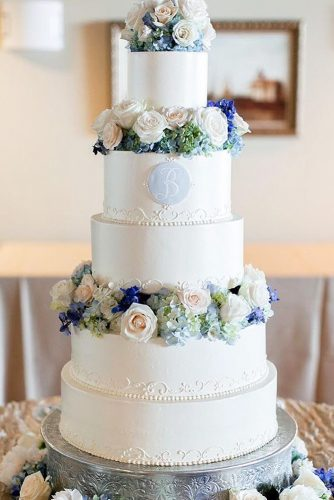 beautiful wedding cakes blue flower melissasfinepastries