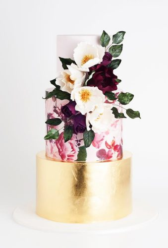 beautiful wedding cakes cake with flower and gold cake ink