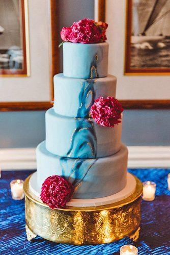 beautiful wedding cakes tall blue cake with golden abstraction and fresh peonies aster and olive photography