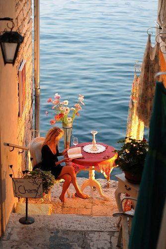 best honeymoon spots amazing view girl at the cafe rovinj croatia