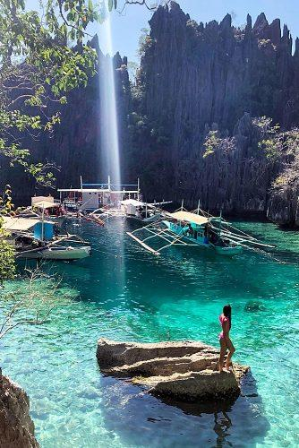 best honeymoon spots palawan philippines girl in the water nature