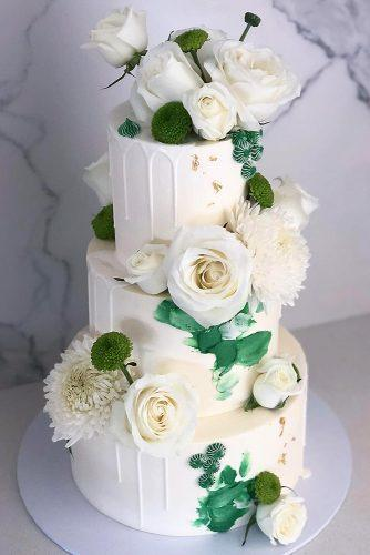 buttercream wedding cakes classic tall white with roses and greenery blondebakingmama via instagram