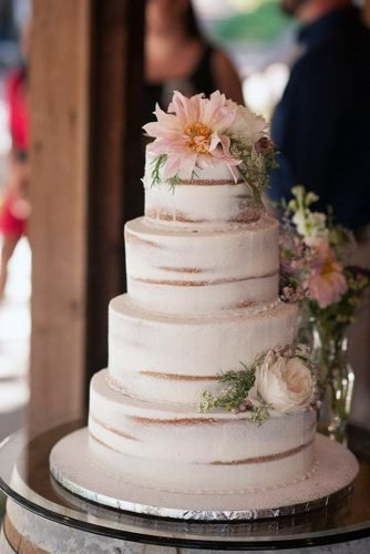 buttercream wedding cakes naked white with gentle flowers essence photography