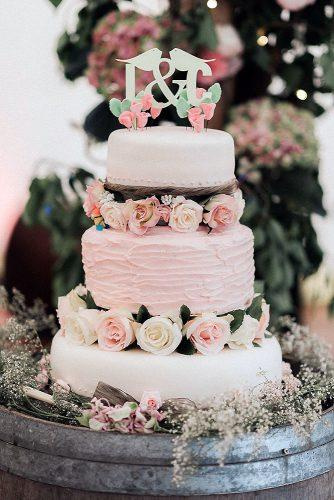 buttercream wedding cakes rustic pink with roses chris scuffins photo