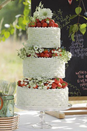 buttercream wedding cakes textured rustic with strawberries elizabeth anne design