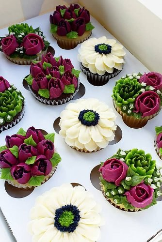 chocolate wedding cupcake colorful flowers cupcakes