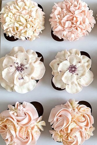 chocolate wedding cupcake pastel flowers