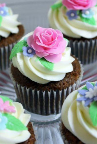 chocolate wedding cupcake pink flower on cupcake thispieceofcake