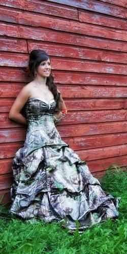 country sweetheart neckline camo wedding dresses with ruffled skirt camo formal
