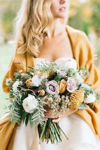 fall wedding bouquets delicate flowers pink yellow and white with foliage lindsay hackney photography