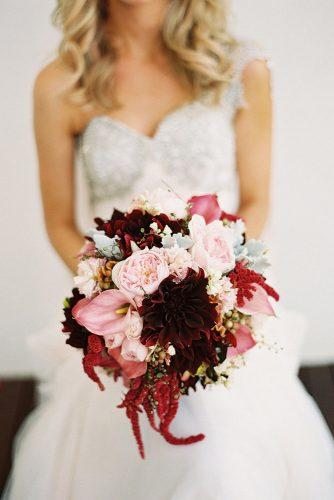 fall wedding bouquets round with pink peonies and burgundy dahlias and pink callas stewart leishman