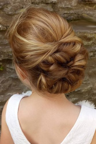 flower girl hairstyles bun swept back hairofeden