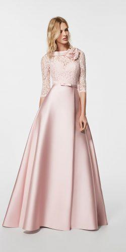lace high neckline blush bridesmaid dresses with long sleeves pronovias