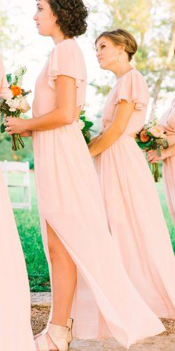long blush bridesmaid dresses with slit and short sleeves my mint