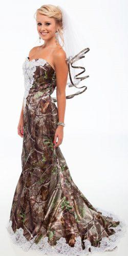 mermaid strapless sweetheart neck camo wedding dresses realtree