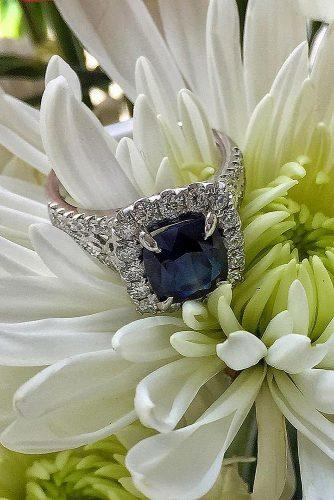 sapphire engagement rings emerald cut halo pave band white gold