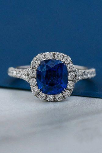 sapphire engagement rings halo white gold pave band