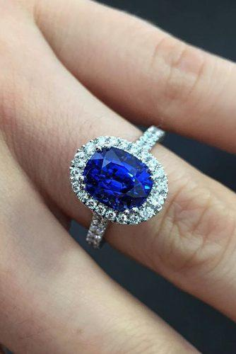 sapphire engagement rings oval cut halo pave band