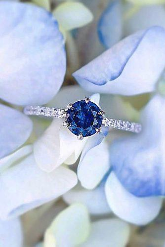 sapphire engagement rings white gold round cut simple