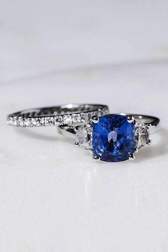 sapphire engagement rings white gold set three stones