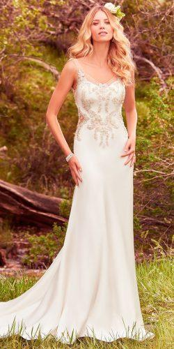 sheath beaded illusion straps v neck maggie sottero wedding dresses 2017 style josette