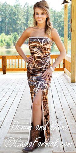 sheath strapless slight curve with high slit camo wedding dresses camo formal
