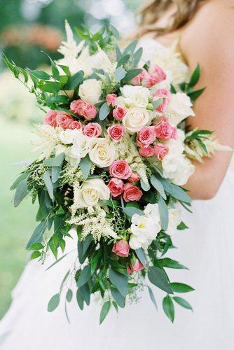 summer wedding bouquets cascade with white and pink roses and greenery ashley brown via instagram