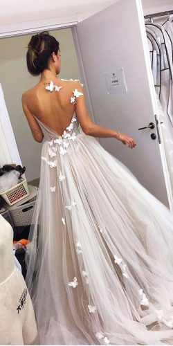 tattoo effect wedding dresses a line illusion butterfly liz martinez bridal