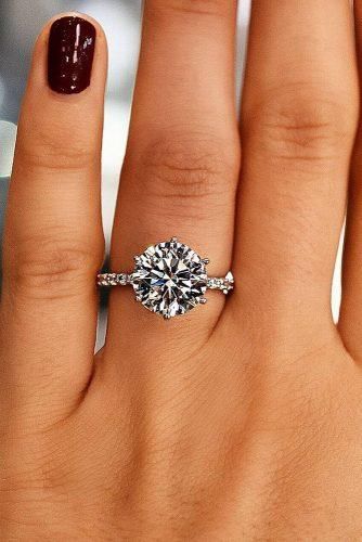 top engagement ring ideas solitaire diamond pave white gold band