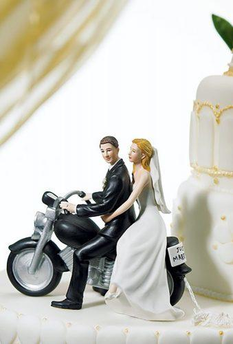 unique wedding cake toppers couple on bike justcaketoppers