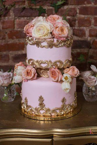 unique wedding cakes pink cake with gold elements and roses sydneys sweets via instagram