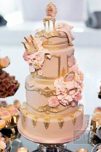 unique wedding cakes pink cake with golden elements and figurines christian oth studio
