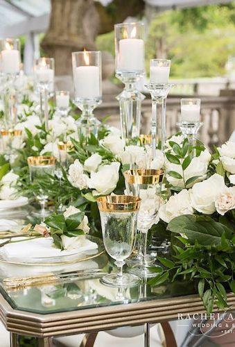 wedding centerpieces white green flowers candles rachelaclingen