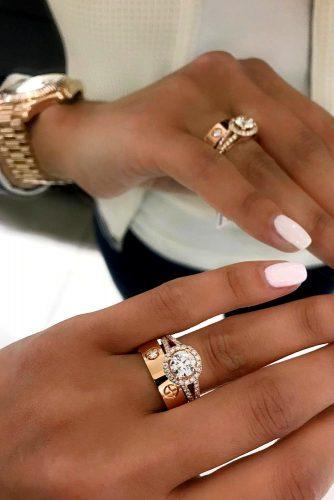 wedding rings rose gold modern set