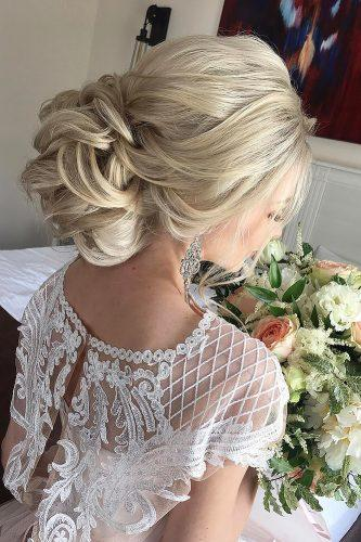 wedding updos for long hair curly updo elstile