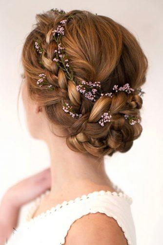 wedding updos for medium hair top braided updo with flower accessories hairandmakeupbysteph