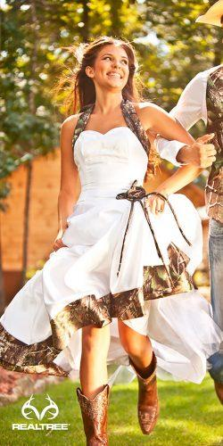 white sweetheart neck camo wedding dresses and groom outfits realtree