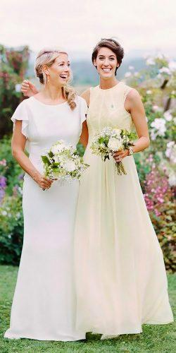 bateau neck long lace yellow bridesmaid dresses david jenkins