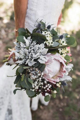 beautiful wedding bouquets in pastel colors with protein and greens tahnee jade photography via instagram