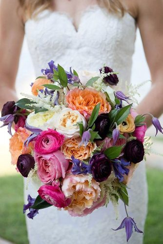 beautiful wedding bouquets unusual bright with white dark orange and pink flowers kelly hornberger photography via instagram
