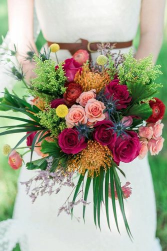 beautiful wedding bouquets with greens and roses burgundy pink elisheva golani via instagram