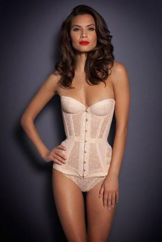 bridal corset light pink lingerie strapless curves elegant agent provocateur via instagram