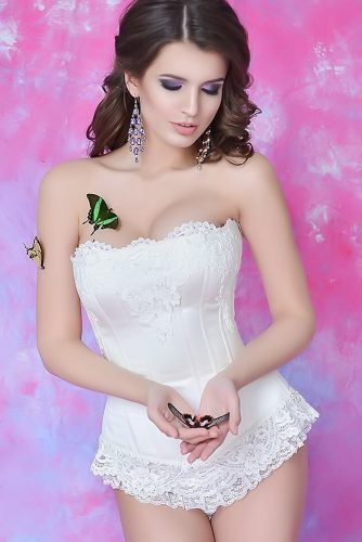 bridal corset white strapless wedding coret maidol corsets