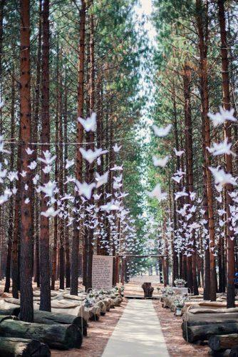 cheap wedding decorations wedding ceremony in the forest decorated with origami of paper carolien and ben