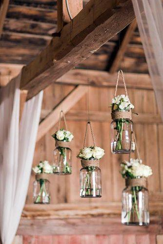 cheap wedding decorations white roses in mason jar on linen ropes harlow bliss photography