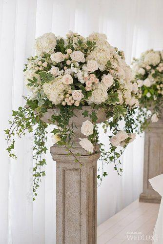 church wedding decorations large cascade bouquet with ruddy and white flowers and greens on a stone pedestal life images