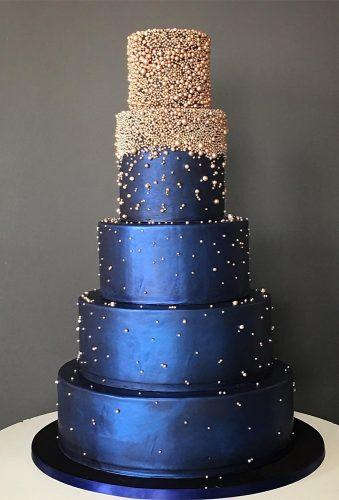 colored wedding cakes blue cake with gold thebutterend