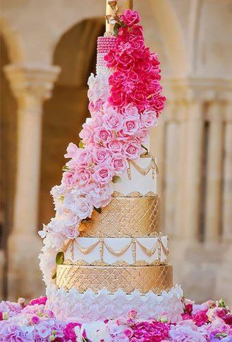colored wedding cakes white cake with gold flower casacade elizabethscakeemporium